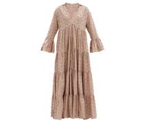 Enid Tiered Floral-appliqué Cotton Maxi Dress