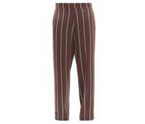 London Striped Sandwashed-silk Pyjama Trousers