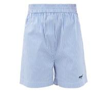 Elasticated-waist Striped Cotton-blend Shorts