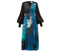 Teruko Balloon-sleeve Cosmic-print Silk Midi Dress