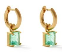 Emerald & 18kt Gold Hoop Earrings
