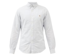 Logo-embroidered Striped Cotton-oxford Shirt
