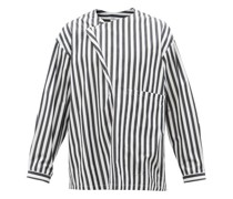 Lineman Foldover-neck Striped Cotton-poplin Shirt