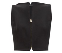 Zipped Wool-dobby Cropped Top