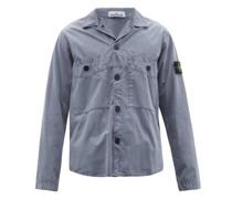 Logo-patch Garment-dyed Cotton-canvas Overshirt