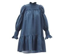 Hattie Balloon-sleeve Shirred Ramie Mini Dress