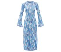 Ally Open-back Geometric-jacquard Knitted Dress