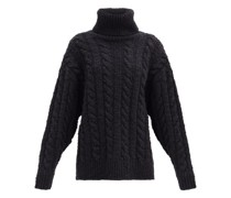 Roll-neck Cable-knit Wool-blend Sweater