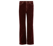 Faded Flocked Flared-leg Jeans