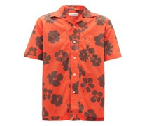 Hibiscus-print Cuban-collar Cotton-poplin Shirt