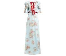 Ruffled Floral-print Silk-satin Gown