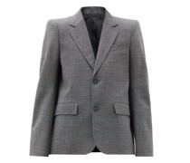 Single-breasted Check Wool Jacket