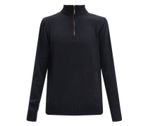Zipped Merino-wool Blend Sweater
