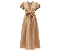 Savannah Puff-sleeve Tencel-blend Midi Dress