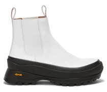 Exaggerated-sole Leather Chelsea Boots