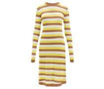 Brenda Striped Pointelle-knit Midi Dress