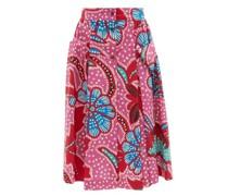 Tiana Floral-print Cotton-poplin Midi Skirt