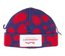 Logo-patch Spot-intarsia Wool-blend Beanie Hat
