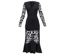 Zebra-embroidered V-neck Flared Dress