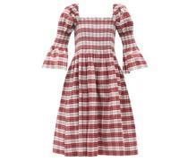 Aditi Shirred Cotton-blend Tartan Dress