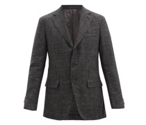 Single-breasted Wool-blend Check Blazer