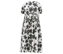 Pleated-waist Floral-print Cotton Midi Dress