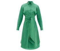 Belted Cotton-blend Poplin Shirt Dress