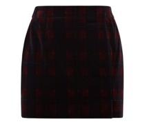 Tartan Cotton-velvet Mini Suit Skirt