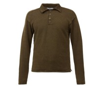 Spread-collar Knitted-linen Polo Shirt