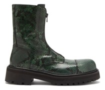Chunky-sole Python-effect Leather Boots