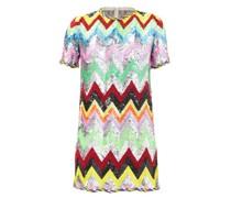 Sequined Chevron-stripe Mini Dress