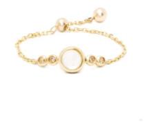 June Diamond, Moonstone & Gold Chain Ring