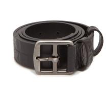 Crocodile-effect Leather Belt