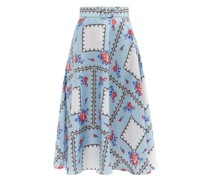 Belted Floral-print Silk-twill Midi Skirt