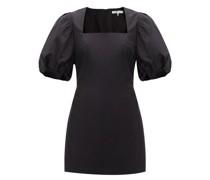 Nina Puffed-sleeve Cotton-poplin Mini Dress