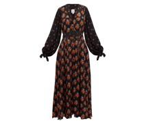 Contrast-sleeve Belted Poplin Dress