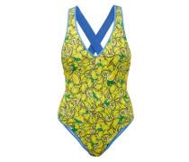 Katelyn Crossover-back Lemon-print Swimsuit