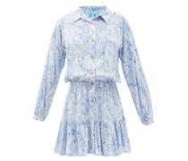 Gianna Azzuro-print Twill Mini Shirt Dress