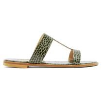 Aruba Crocodile-effect Leather Sandals