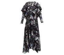 Liza Ruffled Floral Satin-devoré Dress