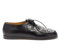 Crystal-embellished Leather Derby Shoes