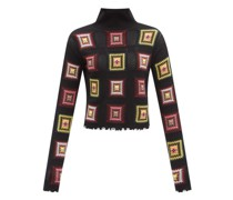 Space Age Crocheted-square High-neck Sweater