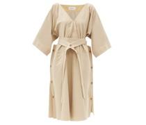 Belted Cotton-blend Canvas Dress