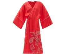 Dancing Bird-embroidered Linen Wrap Dress
