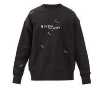Logo-print Distressed Cotton-jersey Sweatshirt
