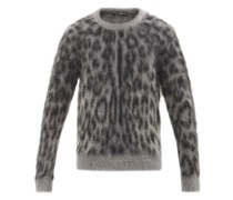 Leopard-jacquard Mohair-blend Sweater
