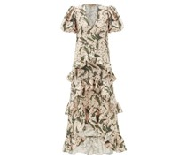 Lily Of The Valley-print Ruffled Linen-blend Dress