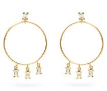 Baguette Diamond & 18kt Gold Hoop Earrings