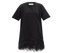 Feather-trimmed Cotton-jersey T-shirt Dress