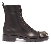Studded-toecap Lace-up Leather Ankle Boots